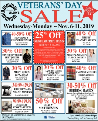 Veteran's Day Sale