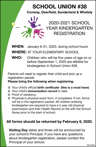 2019-2020 School Year Kindergarten Registration