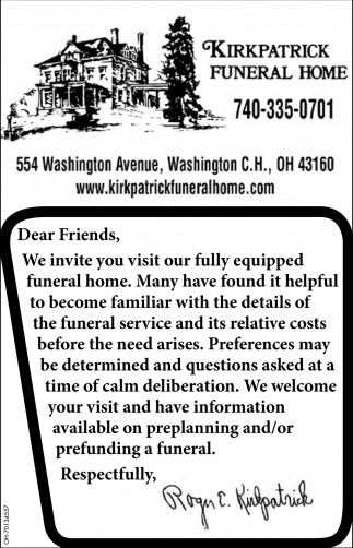 We invite you visit our fully equipped funeral home
