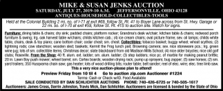 Mike & Susan Jenks Auction
