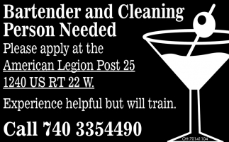 Bartender and Cleaning Person Needed