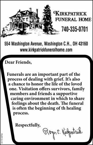 The funeral is often the begining of the healing process