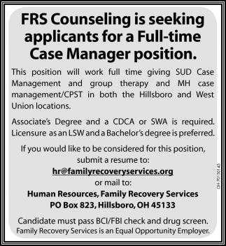 Full Time Case Manager Position