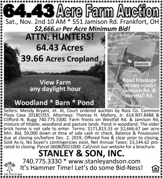 Acre Farm Auction- Nov. 2nd
