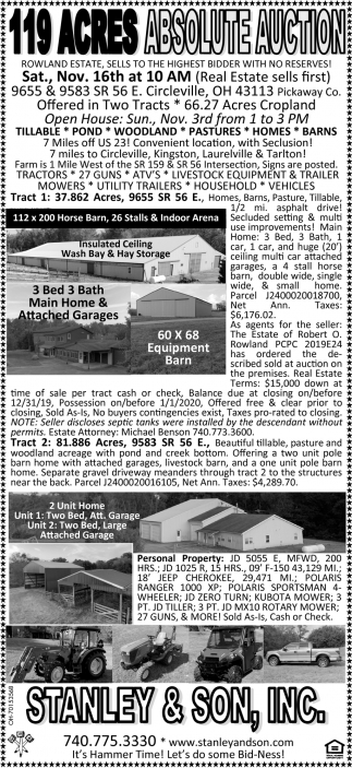 119 Acres - Absolute Auction - Nov 16th