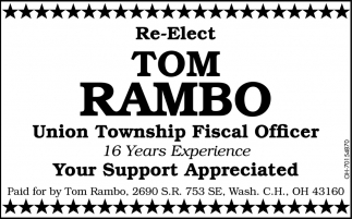 Re-Elect Tom Rambo Union Township Fiscal Officer