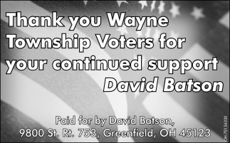 Thank You Wayne Township Voters for your continued support