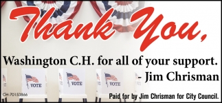 Thank You, Washington C.H. for all your support
