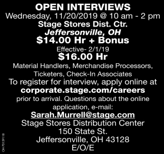 Open Interviews 11/20/2019