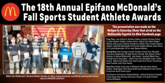 The 18th Annual Epifano McDonald's Fall Sports Student Athlete Awards