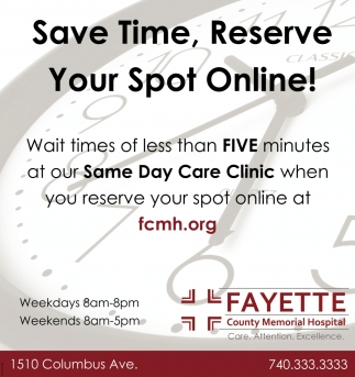 Save Time, Reserve Your Spot Online!