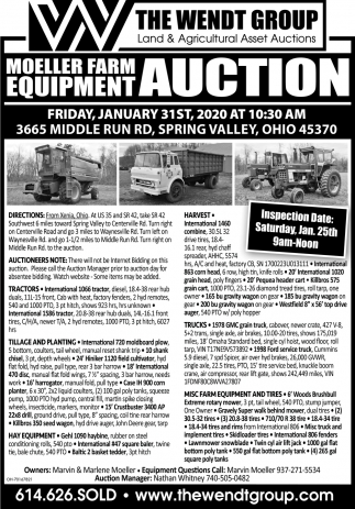 Moeller Farm Equipment auction - January 31st