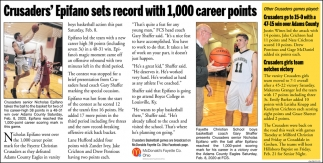 Crusader's Epifano sets record with 1,000 career points