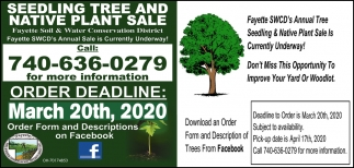 Seedling Tree and Native Plant Sale - Deadline March 20th