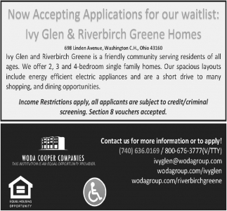 Now Accepting Applications for our waitlist: Ivy Glen & Riverbirch Greene Homes