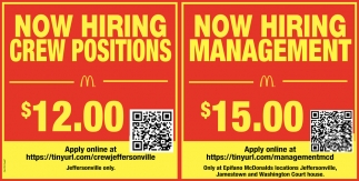 Now Hiring Crew Positions - Management