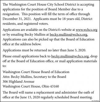 Accepting Application of Board Member