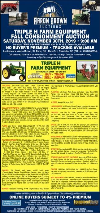 Triple H Farm Equipment November 30th Aaaron Brown Auctions