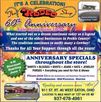 60th Anniversary Sale Dates June 10 - 16