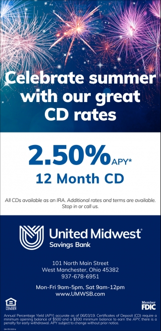 Celebrates summer with our great CD Rates