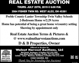 Real Estate Auction July 25th