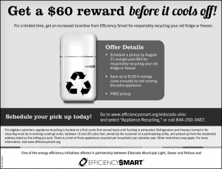 Get a $60 reward before it cools off!