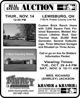 Real Estate auction . Nov. 14