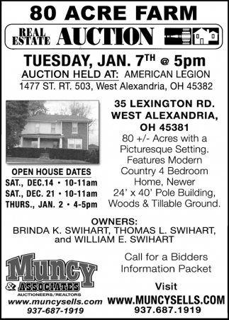 Real Estate Auction - Jan 7th