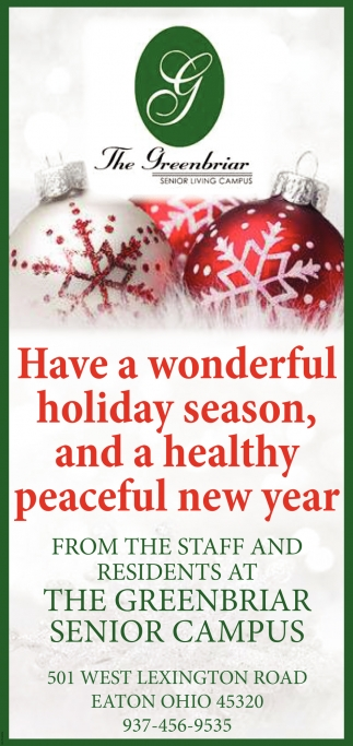 Have a wonderful holiday season, and a healthy peaceful new year