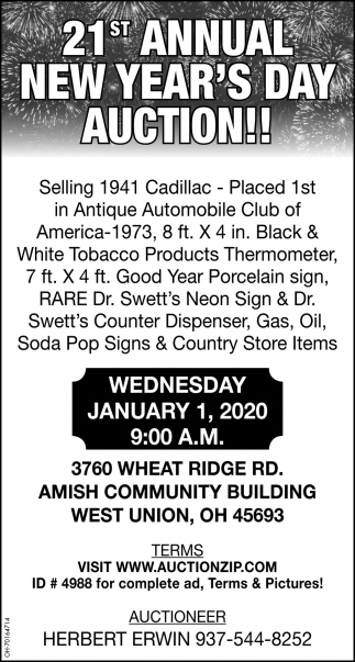 21st Annual New Year's Auction! - January 1