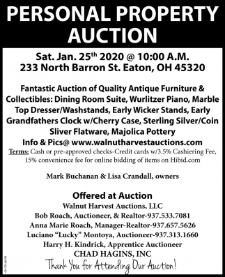 Personal Property Auction - Jan. 25th