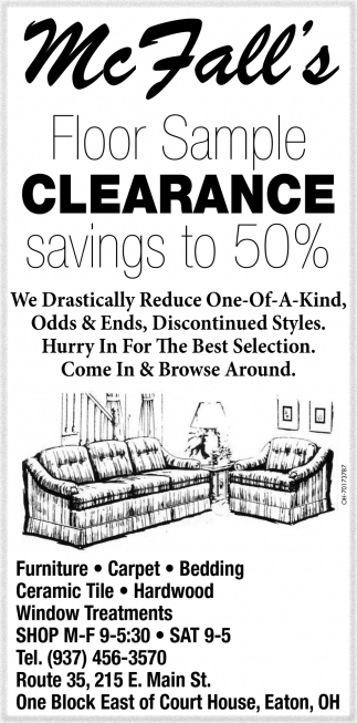 Floor Sample clearance savings to 50%