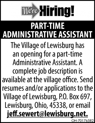 We're Hiring! Part-Time Administrative Assitant