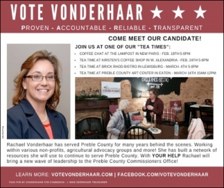 Vote Rachel Vonderhaar for Preble County Commissioner