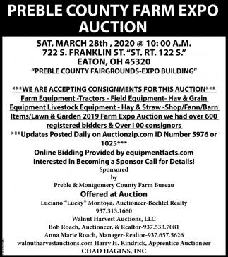 Preble County Farm Expo Auction - March 28th