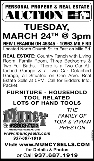 Personal Property & Real Estate Auction - March 24th