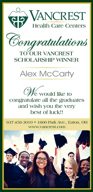 Congratulations To Our Vancrest Scholarship