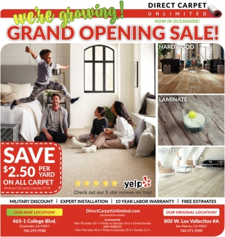 Grand Opening Sale Direct Carpet Unlimited