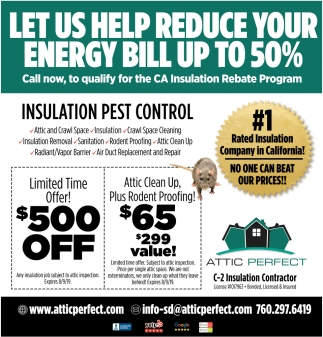 Let Us Help Reduce Your Energy Bill Up To 50 Attic Perfect