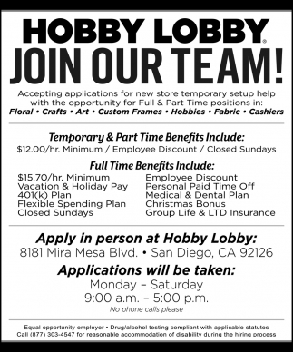 Join Our Team Hobby Lobby La Mesa Ca