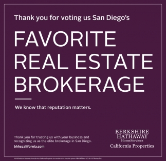 Favorite Real Estate Brokerage Berkshire Hathaway Homeservices California Properties La Jolla Ca