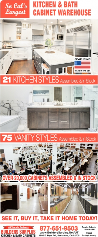 So Cal S Largest Kitchen And Bath Cabinet Warehouse Builders Surplus Santa Ana Ca
