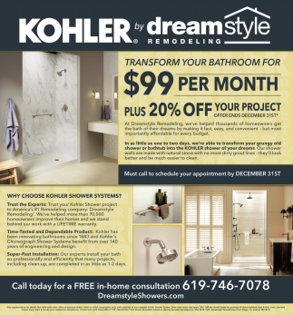 Kholer Shower Systems, Dreamstyle Remodeling, Albuquerque, NM