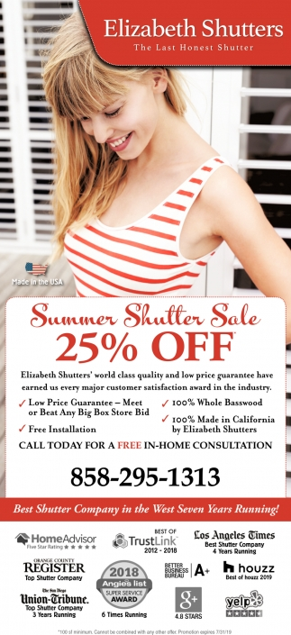 Summer Shutter Sale 25% OFF
