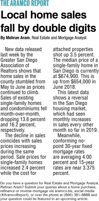 Local Home Sales Fall By Double Digits