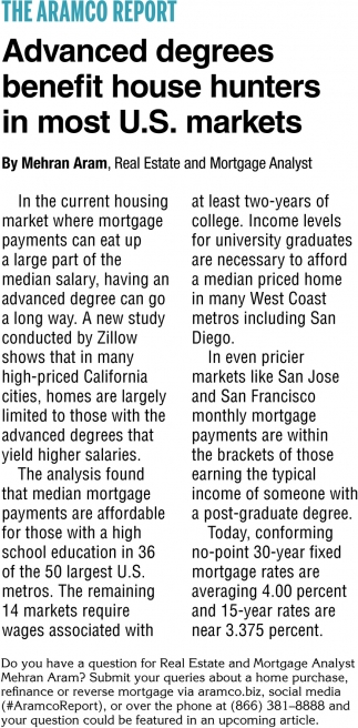 Advanced Degrees Benefit House Hunters in Most U.S. Markets