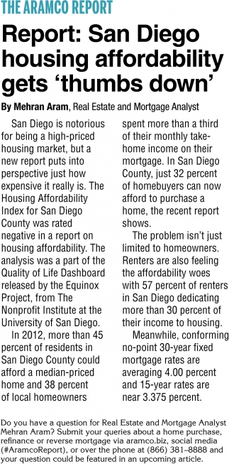 Report: San Diego Housing Affordability Gets 'Thumbs Down'