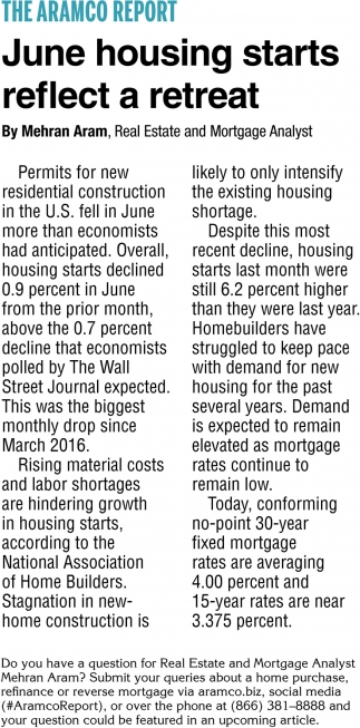 June Housing Start Reflects a Retreat