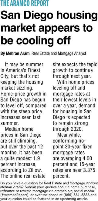 San Diego Housing Market Appears to Be Cooling OFF