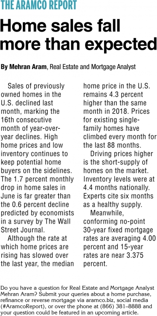 Home Sales Fall more than Expected